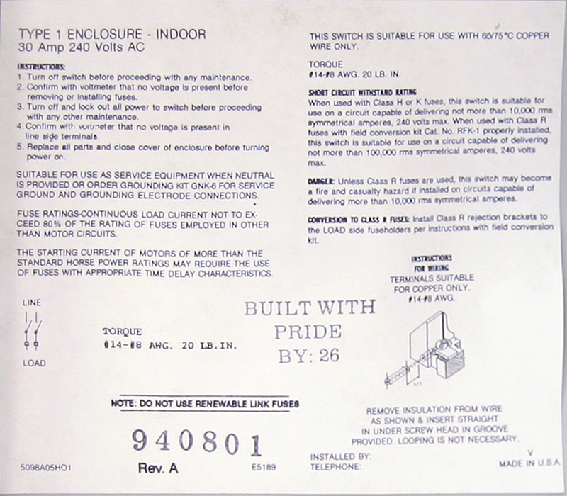 electrical breaker boxes click here for enlarged picture of inside label